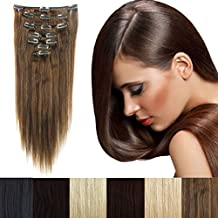 """3-5 Days Delivery 16""""-22"""" 65g-80g Clip in Remy Human Hair Extensions Full Head 7 Pieces Set Short/Long Length Straight Very Soft Style Real Silky for Beauty"""