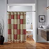 VHC Brands Classic Country Farmhouse Bath Red Shower Curtain, 72 x 72, Prairie Winds