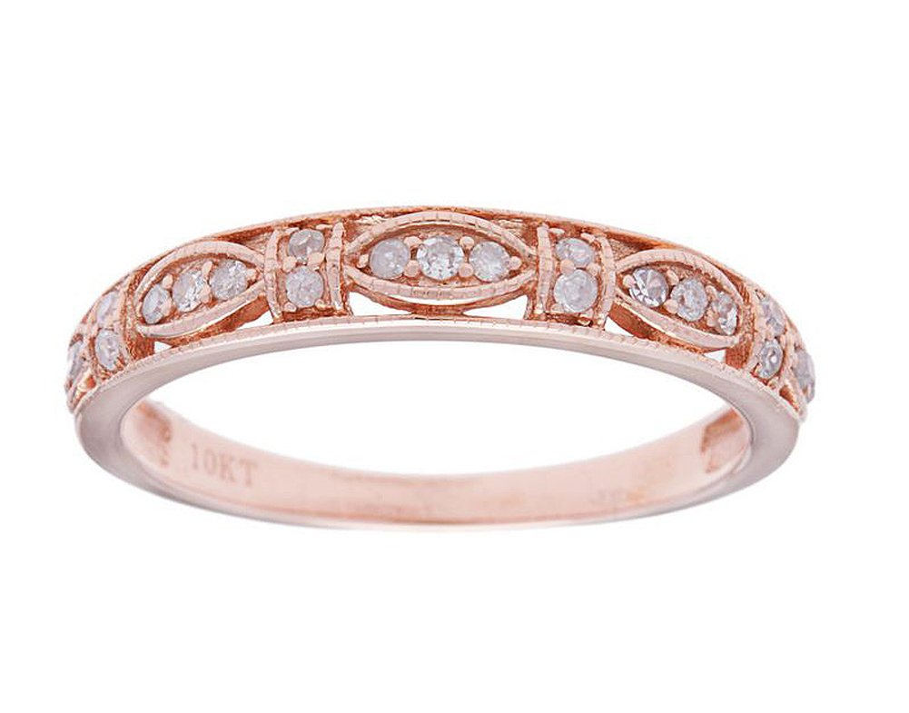 10k Rose Gold Vintage Style Diamond Anniversary Ring (1/6 cttw, I-J Color, I2-I3 Clarity)