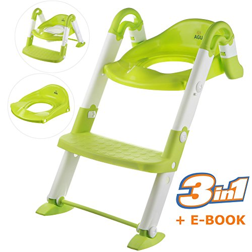 Potty Training Seat - Potty Chair - BEST Potty and STURDY Potty Seat with Step Ladder plus Toilet Seat Plate for Boys and Girls - Reliable Construction of Potty Stool with Handles' Stoppers