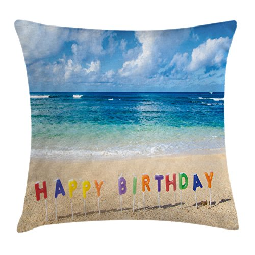 Ambesonne Birthday Throw Pillow Cushion Cover, Happy Birthday Sign on The Tropical Beach in Hawaii Exotic Sweet Surprise Theme, Decorative Square Accent Pillow Case, 36 X 36 inches, Multicolor by Ambesonne