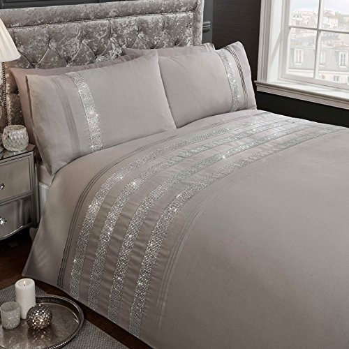 Rapport Carly Diamante Grey 2 Piece UK Double/US Full Sheet Set, 1 x Double Sided Sheet and 2 x Pillowcases