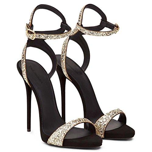 CLOVER EU37 A Sexy LUCKY Mariée Cm Filles Gold Cadeau Saison Sandales Fête Chaussures 4 Chaton Mariage Lady 12 Femmes Talon Mode De Strass Blink PU dSw5Fwq