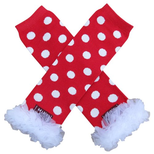 - So Sydney Baby Toddler Girl Polka Dot Tutu Chiffon Ruffle Leg Warmers … (White on Red)