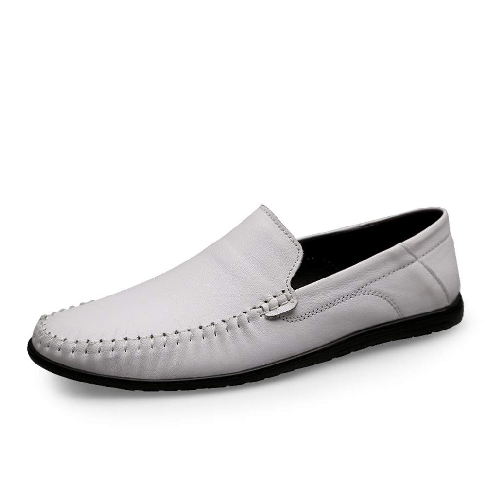 Driving Loafer for Men Boat Moccasins Slip On Style Cowhide Leather Simple Pure color Low Top(Hollow Optional) (color   White, Size   8.5 UK)
