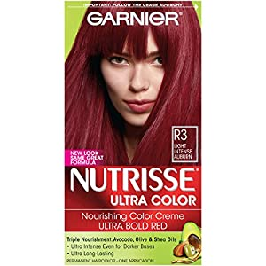 16. Garnier Nutrisse Ultra Color Nourishing Hair Color Creme, R3 Light Intense Auburn (Packaging May Vary)