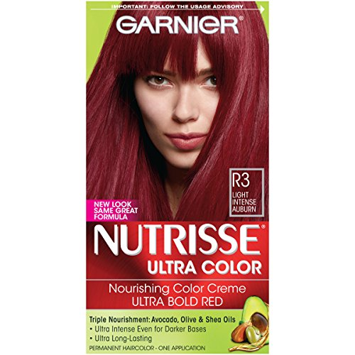 Hair Cosmetics Creme - Garnier Nutrisse Ultra Color Nourishing Hair Color Creme, R3 Light Intense Auburn (Packaging May Vary)