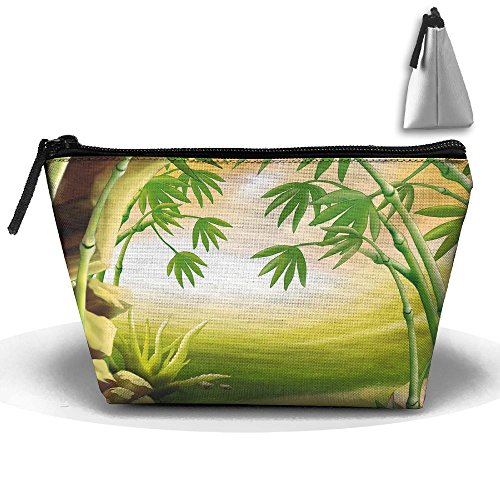 Jingclor Portable Trapezoidal Storage Pouch Bamboo Art Painting Cosmetic Bags Travel Toiletry Zipper Pencil Holders