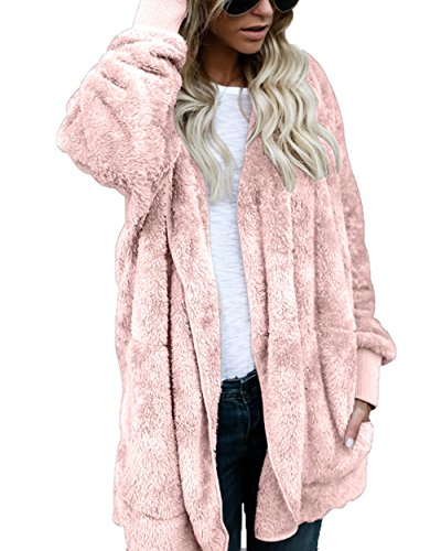 Women's Oversized Plush Jacket Open Front Hooded Draped Pockets Cardigan Pink L - Fur Oversized Coat