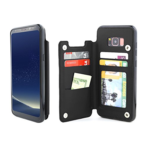 Gear Beast Lychee PU Leather Protective Top View Slim Wallet Case Fits Galaxy S8 Plus Includes Flip Folio Cover, with Five Card Slots Including Transparent ID Holder
