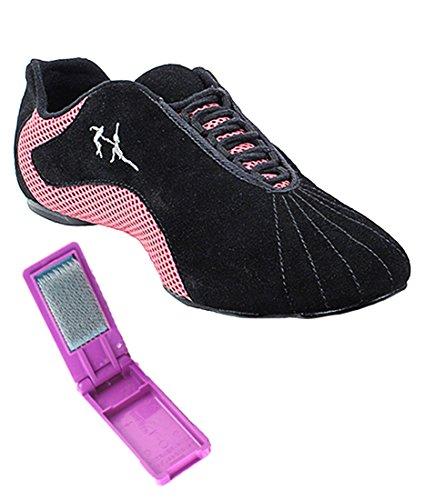 Zeer Fijne Ballroom Latin Tango Salsa Dance Sneakers Schoenen Voor Vrouwen Heren Vfsn016 + Opvouwbare Borstel Bundel Paars