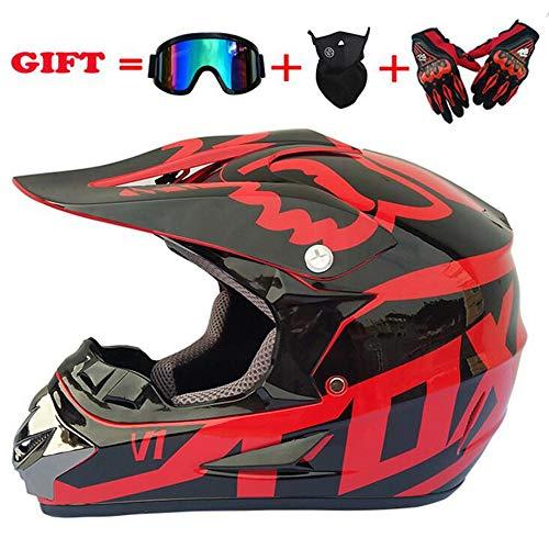 Adulto Motocross Casco de la Motocicleta y Cross-país Adulto MX Off-Road Motocicleta (Guantes, Gafas, máscara, Juego de...