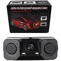 KIPTOP Car Reverse Backup Radar System,Waterproof Night Vision Camera with 2 Parking Sensors for Universal Auto Vehicle