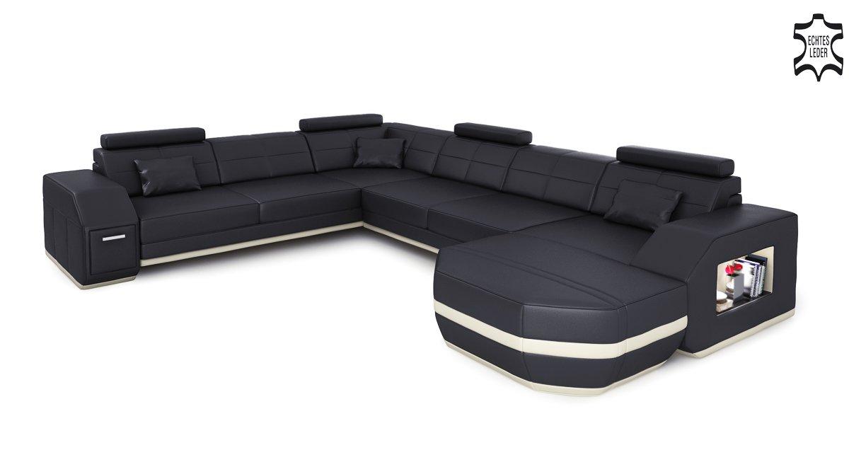 Ledercouch u form  Wohnlandschaft XXL Ecksofa Leder Sofa Couch Ledersofa Ledercouch U ...