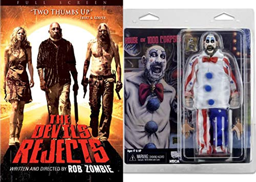 Captain Spaulding Bundle Rob Zombie Devils Rejects Horror Movie DVD & House of 1000 Corpses Collectible Creepy Clown Figure Pack for $<!--$57.99-->