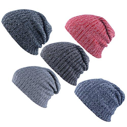 Warm Women De Beanie Sombreros punto Stretch libre Zhhlinyuan Esquí Men Adult Al gris Cap aire Unisex Slouchy Multicolor Invierno AWZwXq