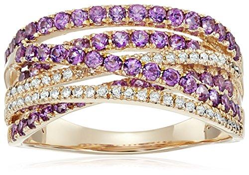 14k Rose Gold Rhodolite Garnet Diamond Ring , Size 7