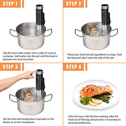 SUNAVO Sous Vide Cooker,WIFI Immersion Circulator Machine 1000W,Thermal Immersion Circulator with Accurate Temperature & Timer Setting,Digital Display Stainless Steel SV-20 by sunavo (Image #6)