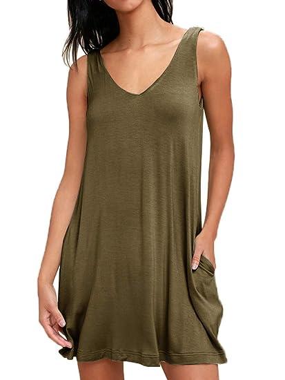 025c7886978 Demetory Women s Sleeveless Plain Basic Tunic T-Shirt Trapeze Tunic Dress  with Pocket Army Green