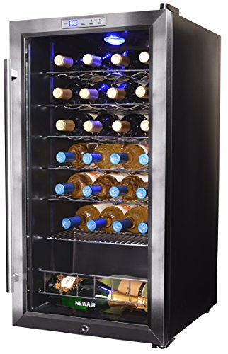 - NewAir Wine Cooler and Refrigerator, 27 Bottle Freestanding Wine Chiller Fridge, Stainless steel with Glass Door, AWC-270E