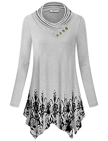 Juniors Tops, SeSe Code Girls Ladies Going Out Long Sleeve Floral Cotton Cowl Neck Tunic Shirt Knit Plus Size Maternity Clothing Bohemian Flare Trapeze Blouses Asymmetric Hem White-gray - Maternity Print Tunic