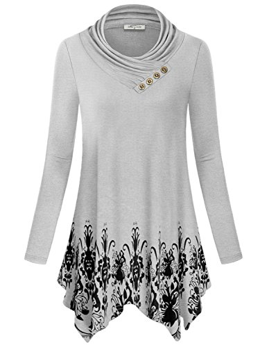 SeSe Code Long Sleeve T Shirt Women, Misses Cotton Casual Fashion Maternity Tops Draped Basic Floral Tunic Sweatshirt Long Cowl Neck Pleat Knitted Autumn Clothes Baroque Blouse for Work White-Gray L