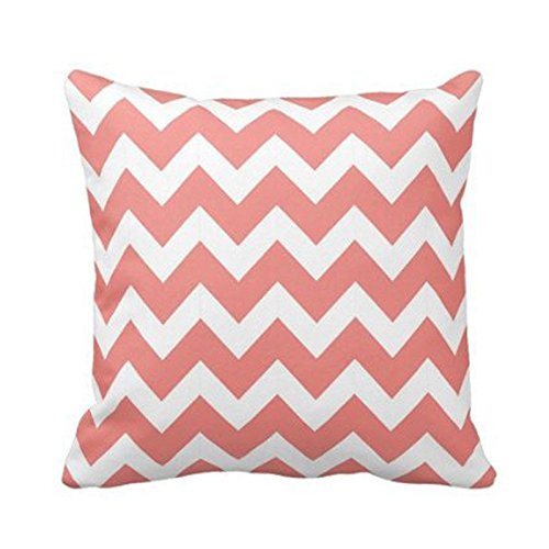 Coral And White Chevron Pillow Personalized 18x18 Inch Squar