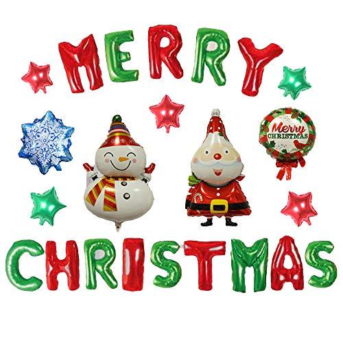 certainPL DIY Aluminum Film Balloon Set Merry Christmas Banner Xmas Home Decoration (D) -
