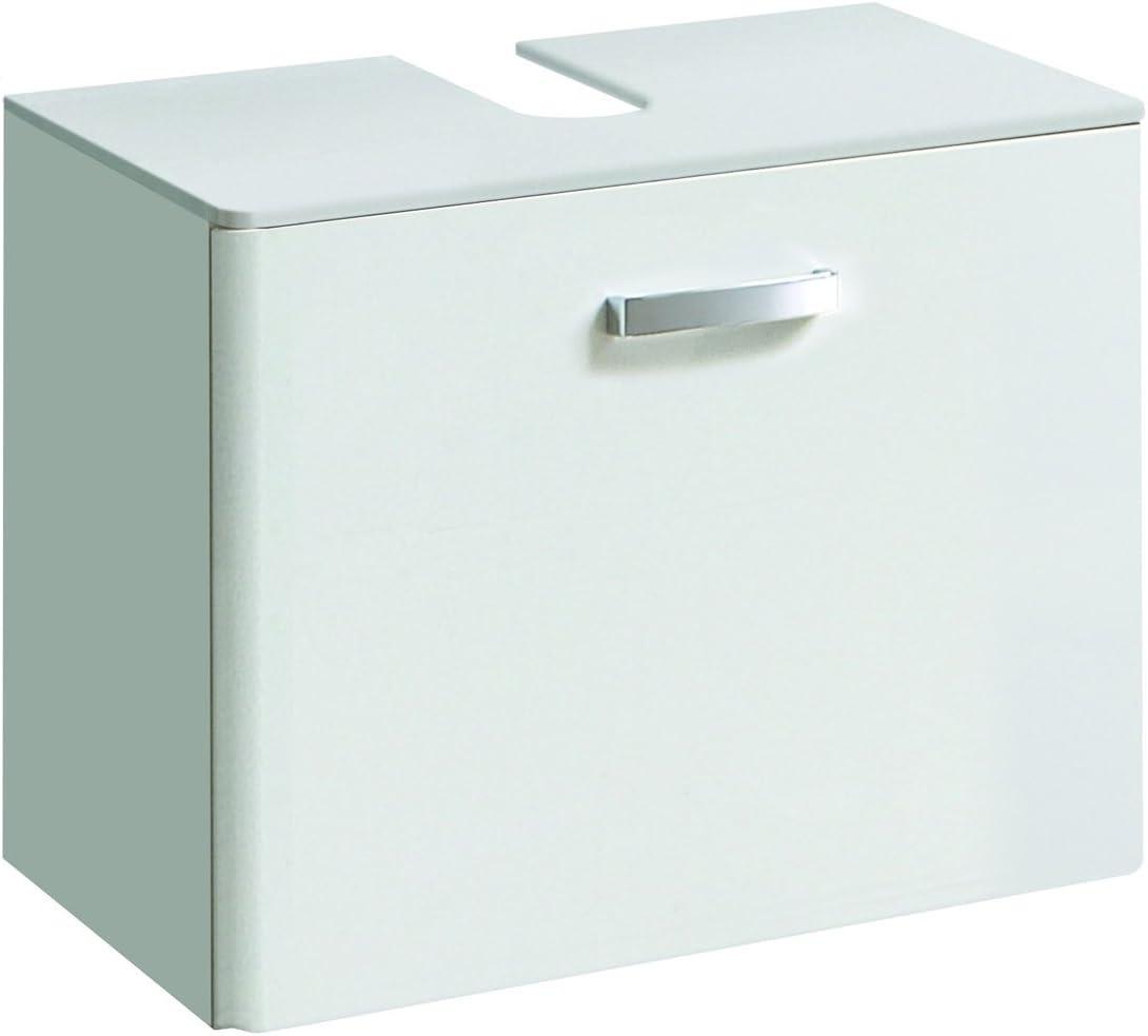 schmal Halbhoher Midischrank mit 2 T/üren lifestyle4living Badezimmerschrank in Wei/ß 1 Schubkasten und 2 Einlegeb/öden Hochglanz
