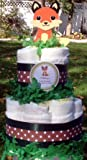 Forest Animal Woodland FOX Two Tiered Diaper Cakes - Handmade by LMK Gifts