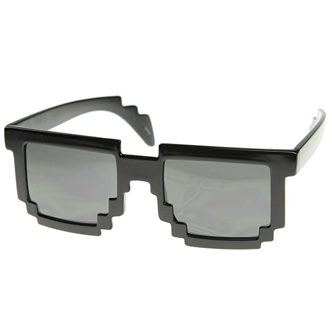 Amazon.com: zeroUV pixelado 8-Bit Negro anteojos de sol CPU ...