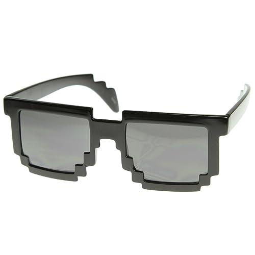 ZeroUV - Gafas de sol pixelada negro de 8 bits CPU Gamer ...