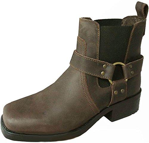 Botines de vaquero / motociclista para hombre Terminator, de cuero genuino, color Marrón, talla 47: Amazon.es: Zapatos y complementos
