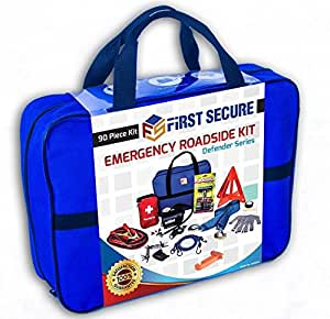 First Secure 90-Piece Roadside Assistance Emergency Car, Truck and RV Kit with Jumper Cables • Auto Air Compressor • First Aid Kit • Tow Rope • Safety Triangle • Flashlight • Window Hammer