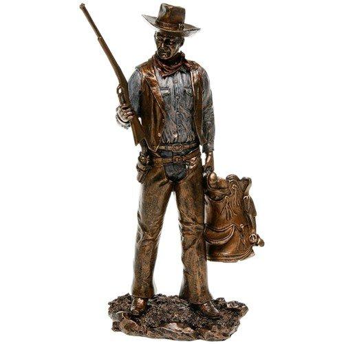 John Wayne Standing Holding Gun & Saddle Bronze Statue Veronese JD 60349