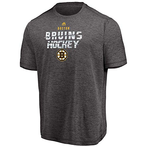 Majestic NHL Men's Off The Post Cool Base Performance T-Shirt (Boston Bruins, Large)