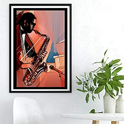 Wall Art Canvas Painting Posters and Prints Wall Pictures Musical Saxophone Decoration 50x70 cm No Frame