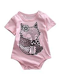 Infant Baby Boy Girl Fox Pattern Pink Romper Onesie Bodysuit for 0-18Month