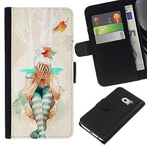 NEECELL GIFT forCITY // Billetera de cuero Caso Cubierta de protección Carcasa / Leather Wallet Case for Samsung Galaxy S6 EDGE // Hipster bailarina