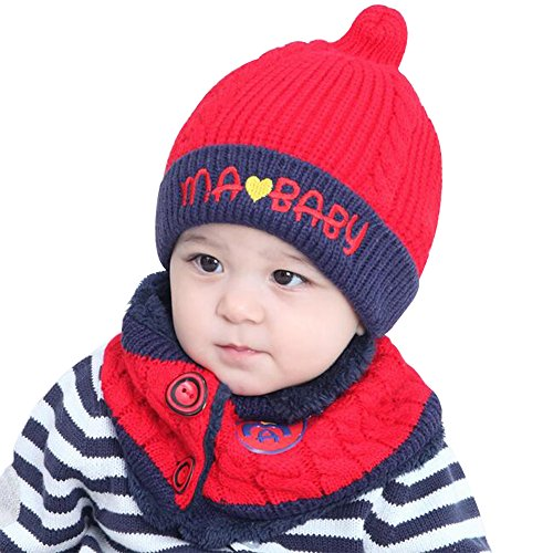 Warm Baby Boys Girls Hat Scarf Set Cute Knitted Cotton Hats(Red) - 1
