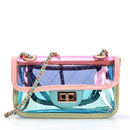 bolsos diseñador de PVC Remache Laser clara bolso mano carteras Rosado Mujer cadena bolso Luckywe de z7Rxww