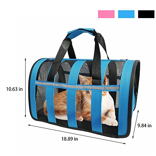 Soft Sided Cat Dog Carrier Airline Approved Bag Foldable Design with Adjustable Detachable Shoulder Strap for Small Breed Dogs Cats Kittens and Puppies, Blue For Sale
