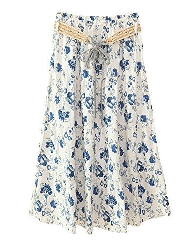 Jupe Midi Taille Ci Style Qing Haute Floral Casual Imprim Hua Rtro Bohme Femme Jupes Longue rq6wfxX0r