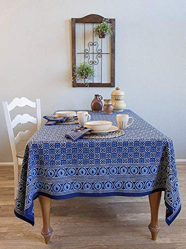 Saffron Marigold Starry Nights ~ Batik Blue Designer Block Print Tablecloth 70x108