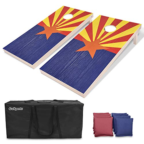 (GoSports Arizona Regulation Size Solid Wood Cornhole Set - Arizona Flag - Includes Two 4' x 2' Boards, 8 Bean Bags, Carrying Case & Game Rules)