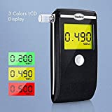 Breathalyzer, Portable Breath Alcohol Tester with LED Screen 3 Colors LCD Display and 5 Mouthpieces (Black)