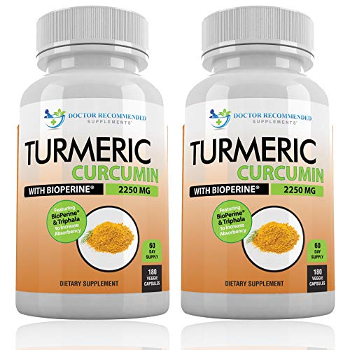 Turmeric Curcumin with Bioperine 2250mg – 95 Curcuminoids with Black Pepper Extract for Best Absorption, Anti-Inflammatory Joint Pain Relief Pills – 100 ORGANIC Turmeric Supplement Capsules