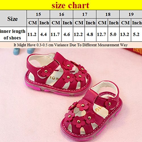 Zhhlinyuan Fashion Toddler Hollow Flowers Summer Shoes Little Girl's Sandals Rose Red