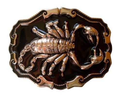 JK Trading Men's Western Scorpion Belt Buckle One Size Black (Scorpion Buckle)