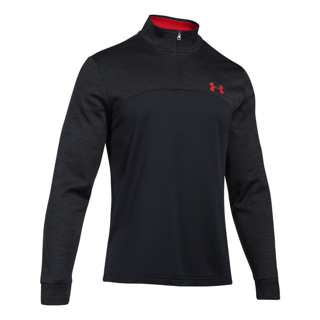 Men's Under Armour Armour Fleece 1/4 Zip, Black/Red, XS-R by Under Armour (Image #1)